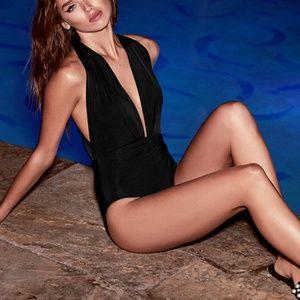 Lulus Get it right black halter one piece swimsuit